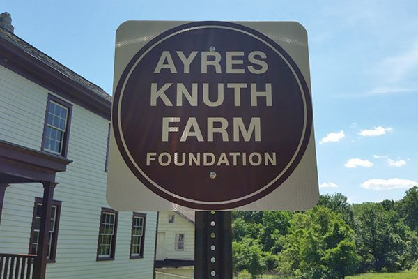 Ayres/Knuth Farm Foundation metal roadside sign