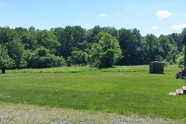 Smoke House and lower back field at the Ayres/Knuth Farm