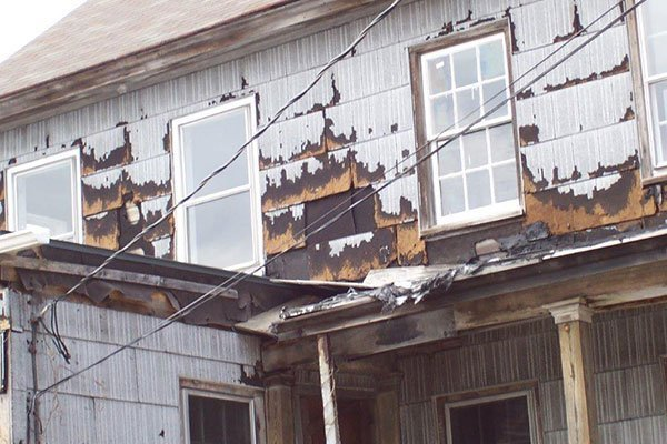 Shingle damage to the Farmhouse on the Ayres/Knuth Farm
